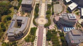 Flyg- sikt av vägar i den Putrajaya staden med trädgårdlandskapdesign Federalt territorium av Malaysia i Kuala Lumpur City royaltyfri fotografi
