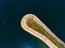 Flyg- sikt av vågbrytaren på havet, vågbrytare, pir, cutwater Royaltyfria Foton