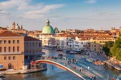 Flyg- sikt av Venedig på solnedgången, Italien Royaltyfria Foton