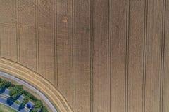 Flyg- sikt av vetefältet och spår från jordbruks- textur för traktor eller bakgrund av det åkerbruka landskapet för sommar Royaltyfri Bild