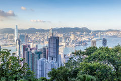 Flyg- sikt av Victoria Harbor i Hong Kong Royaltyfria Bilder