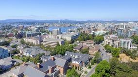 Flyg- sikt av Victoria horisont, Vancouver ö royaltyfri bild