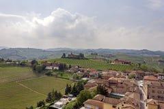 Flyg- sikt av vingårdarna av Barbaresco, Piedmont royaltyfria foton