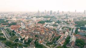 Flyg- sikt av Warszawa arkivfilmer