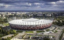 Flyg- sikt av Warszawamedborgarestadion Arkivfoto