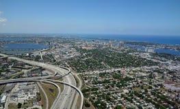 Flyg- sikt av West Palm Beach, Florida Royaltyfri Fotografi