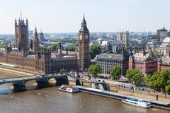 Flyg- sikt av Westminster, London Arkivfoton