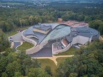 Flyg- sikt av Yantar Hall i Svetlogorsk, Ryssland arkivfoton