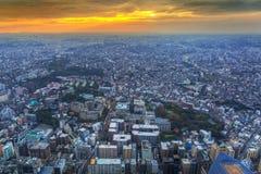 Flyg- sikt av Yokohama på skymning Fotografering för Bildbyråer