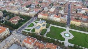 Flyg- sikt av Zagreb, konung Tomislav Square stock video