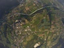 Flyg- sikt - Bex, Schweiz Arkivbilder