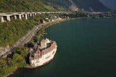 Flyg- sikt Chateau de Chillon Allmänning, Schweiz royaltyfri foto