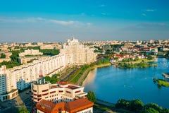 Flyg- sikt, cityscape av Minsk, Vitryssland Royaltyfri Fotografi
