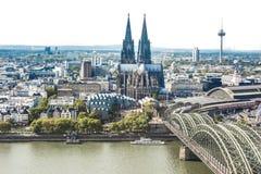 Flyg- sikt Cologne Arkivbild