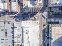 Flyg- sikt för öga för surrfågel` s av staden av Raleigh, NC Arkivbild
