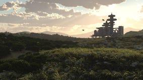 Flyg- sikt för afton av den futuristiska staden Arkivfoto