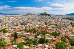 Flyg- sikt för Aten från akropolen, Grekland Royaltyfria Bilder