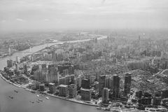 Flyg- sikt för B&W av Shanghai Fotografering för Bildbyråer