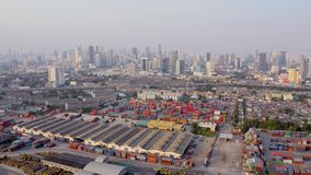 Flyg- sikt för Bangkok port arkivfilmer