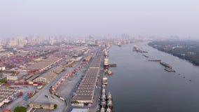 Flyg- sikt för Bangkok port lager videofilmer