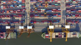 Flyg- sikt för Bangkok port stock video