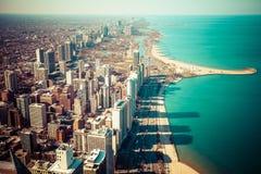 Flyg- sikt för Chicago horisont royaltyfri foto