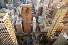 Flyg- sikt för Chicago skyskrapor arkivfoton