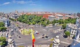Flyg- sikt för Cibeles springbrunn, Madrid, Spanien Arkivfoton