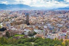 Flyg- sikt för Cityscape av Malaga, Andalucia, Spanien Royaltyfri Bild