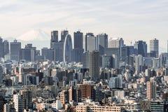 Flyg- sikt för Cityscape av Shinjuku område med affärsbyggnader område och hus, Fuji berg i bakgrund royaltyfri bild