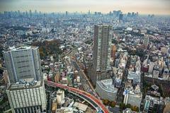 Flyg- sikt för den Tokyo metropolisen, Japan Royaltyfria Bilder