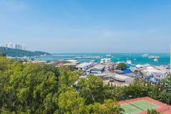 Flyg- sikt för för Pattaya stad och strand Arkivfoton
