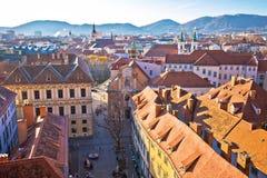Flyg- sikt för Graz centrum arkivfoto