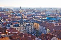 Flyg- sikt för Graz centrum royaltyfria bilder