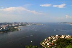 Flyg- sikt för Guanabara fjärd - Rio de Janeiro Royaltyfria Bilder