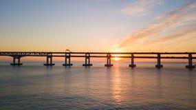 Flyg- sikt för Gwangan bro och Haeundae på soluppgång, Busan som är södra Fotografering för Bildbyråer