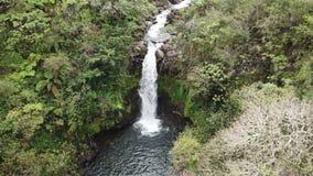 Flyg- sikt för Hawaii vattenfall arkivfilmer