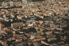 Flyg- sikt för horisont - stadslandskap Arkivfoto