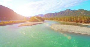 flyg- sikt för 4k UHD Lågt flyg över den nya kalla bergfloden på den soliga sommarmorgonen Gröna träd och solstrålar på stock video
