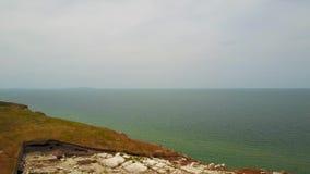 Flyg- sikt för Krimet, Azov hav kust 4K stock video