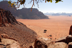 Flyg- sikt för landskapsiktslandskap av Wadi Rum Jordan Fotografering för Bildbyråer