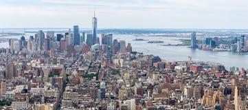 Flyg- sikt för Loiwer Manhattan horisont, NYC Arkivbilder