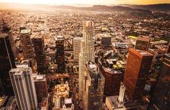 Flyg- sikt för Los Angeles horisont royaltyfri fotografi