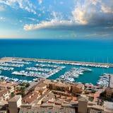 Flyg- sikt för Moraira klubbaNautico marina i Alicante Royaltyfri Fotografi