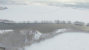 Flyg- sikt för Moskva flod lager videofilmer