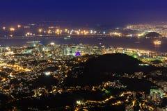 Flyg- sikt för natt av Centro, Lapa, Flamengo och Сathedral. Rio de Janeiro royaltyfria bilder