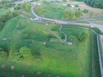 Flyg- sikt för nionde fort i Kaunas, Litauen Arkivfoto