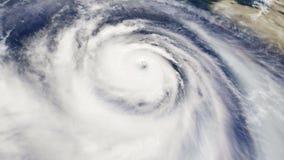 Flyg- sikt för orkanvädersatellit stock illustrationer