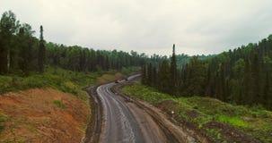 Flyg- sikt för panorama på vägen i flyg- sikt för skog av dumpers på landsvägen i skogsikt från surret på taigaen stock video