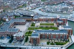 Flyg- sikt för Portsmouth hamn royaltyfri bild
